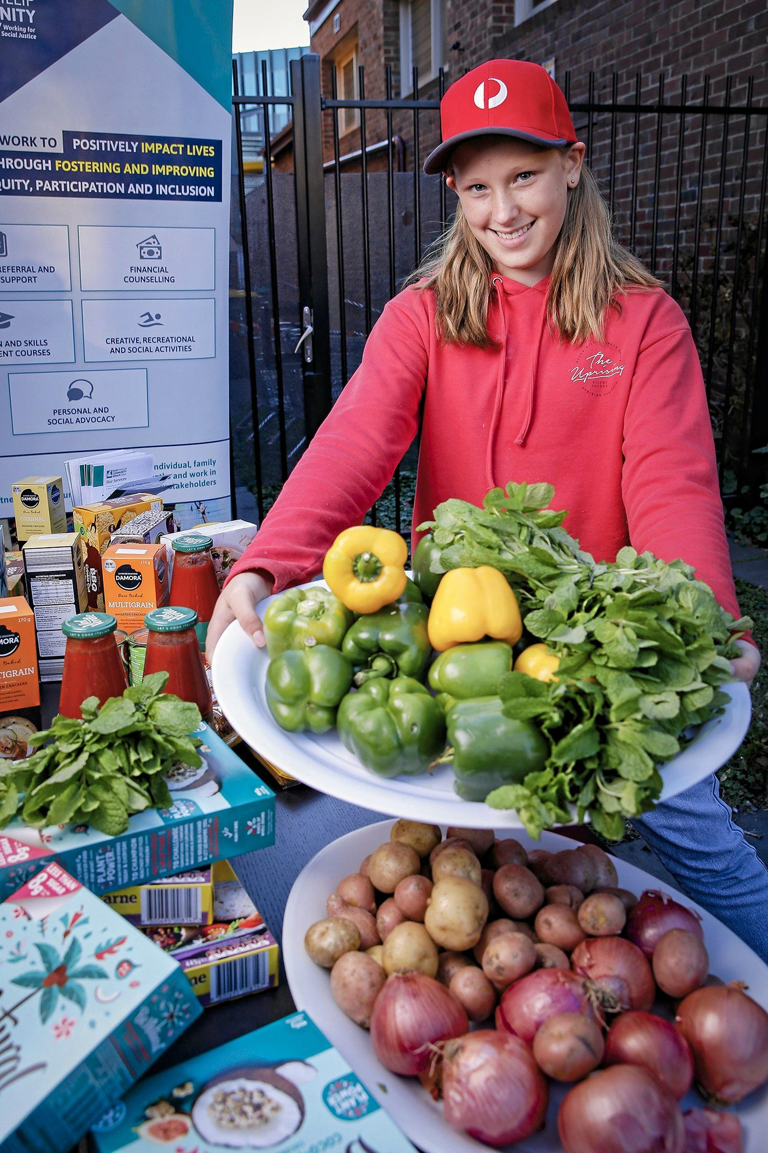 COMMUNITY GRANTS: Audrey (12) provides fresh food and groceries to disadvantaged community members.