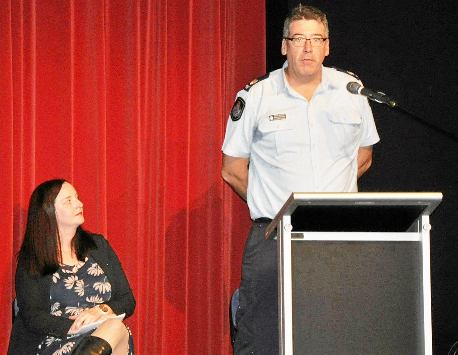 Member for Keppel Brittany Lauga and Yeppoon Police Officer in Charge Senior Sergeant Erin Shawcross at the Safety Forum called by MP Lauga