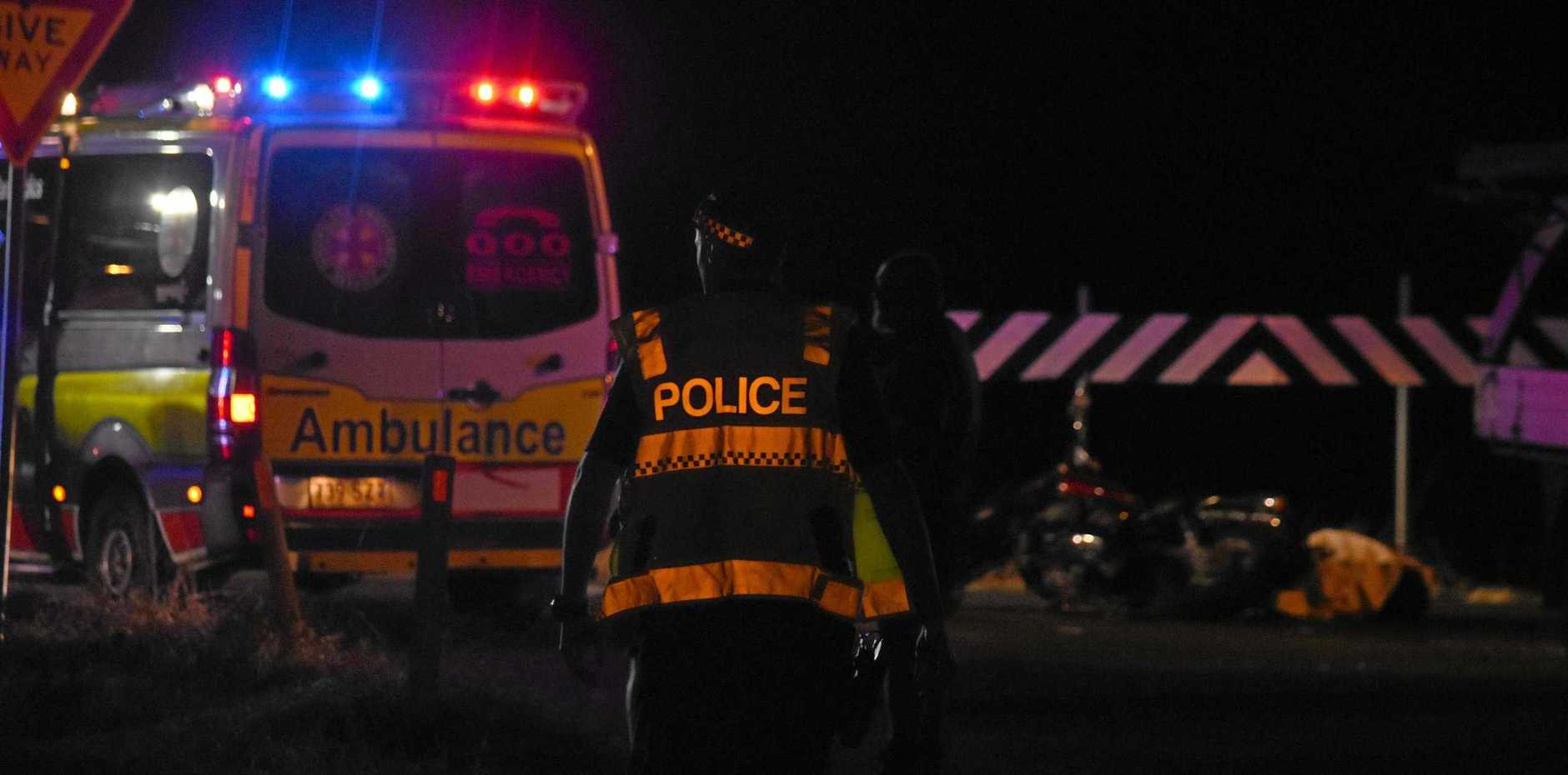 Police on scene at a crash at the intersection of Brightview Road and Lorikeet Road, Regency Downs.