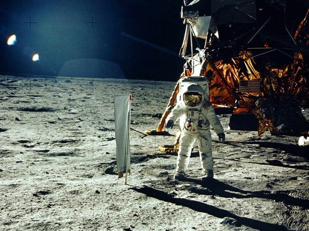 This photo taken by Neil Armstrong, shows astronaut Buzz Aldrin on the Moon's Sea of Tranquillity. Experts say the upcoming 50th anniversary will spark a new wave of hoax claims. Picture: Neil Armstrong/NASA/AFP