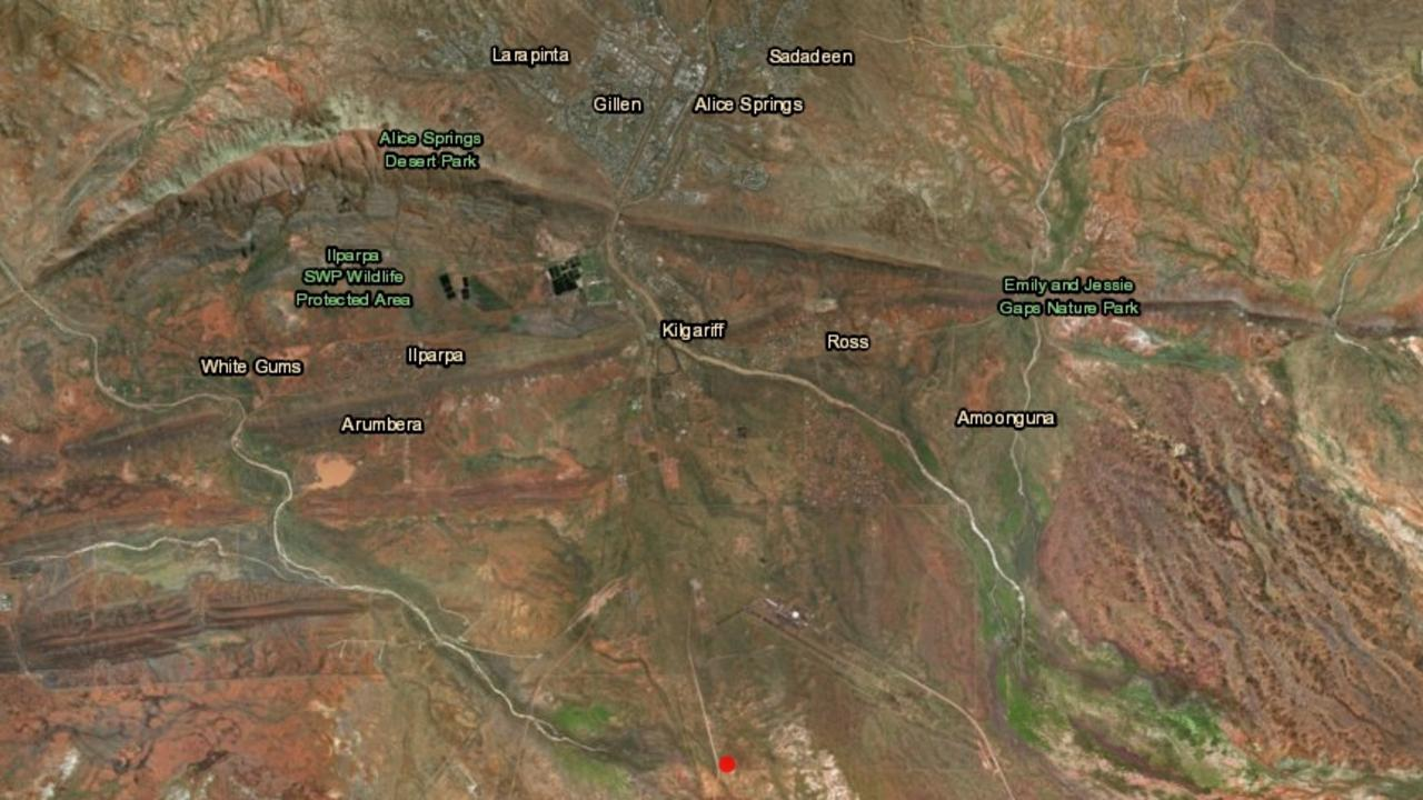 A 1.8 magnitude earthquake hit in Alice Springs this morning. Picture: Geoscience Australia