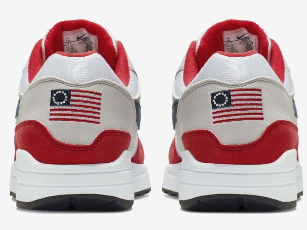 Nike has recalled the limited edition Air Max 1 Quick Strike Fourth of July trainers bearing the 'Betsy Ross' flag, a slavery-era symbol. Picture: Supplied