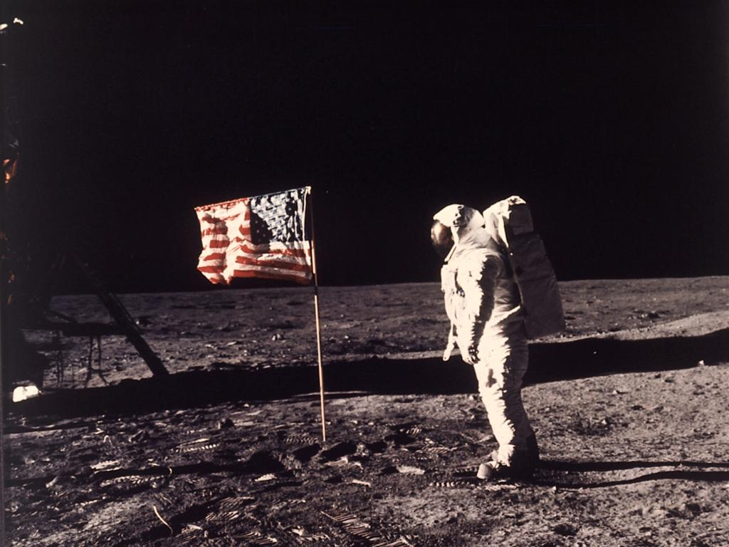 In this image provided by NASA, astronaut Buzz Aldrin poses for a photograph beside the US flag deployed on the moon during the Apollo 11 mission on July 20, 1969. Picture: Neil Armstrong/NASA via AP