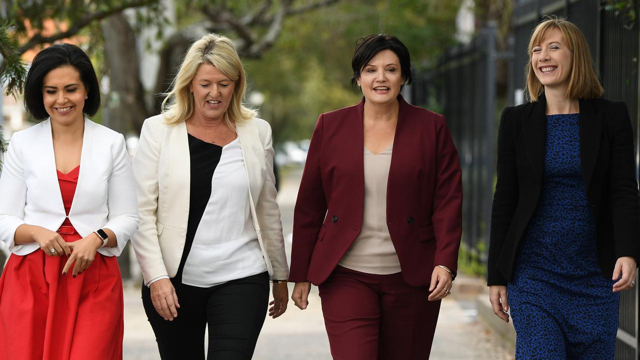 Shadow ministers with Labor leader Jodi McKay (L-R) Prue Car (Education), NSW Deputy Opposition Leader Yasmin Catley, and Jo Haylen (Active Transport) during the announcement on Wednesday. Picture: AAP/Joel Carrett
