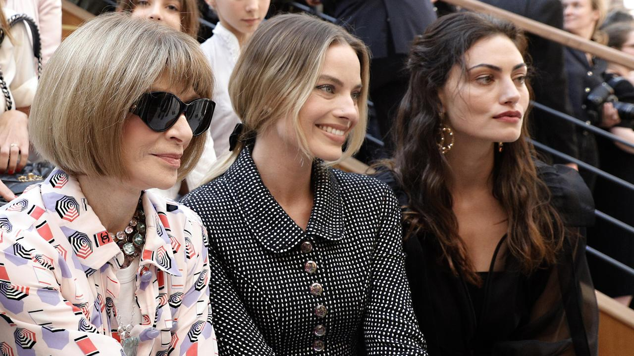 Vogue editor Anna Wintour with Australians Margot Robbie and Phoebe Tonkin. Picture: Kamil Zihnioglu