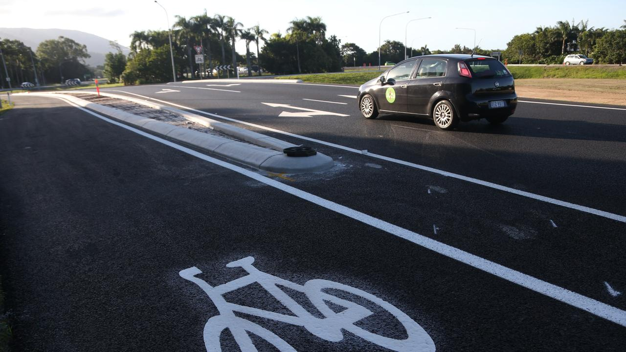 A new cement barrier meant to separate bikes from cars at the roundabout on the Bruce Highway and Discovery Drive, Kewarra Beach. PICTURE: STEWART MCLEAN