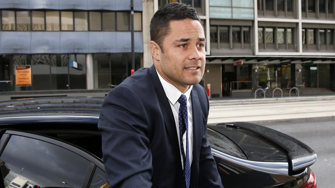 Jarryd Hayne arrives at Newcastle Court this morning. Picture: Darren Pateman