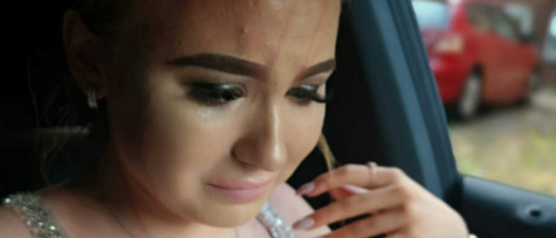 A teenage girl was left in tears after a cruel bully ruined her formal dress — pouring a jug of juice over her.