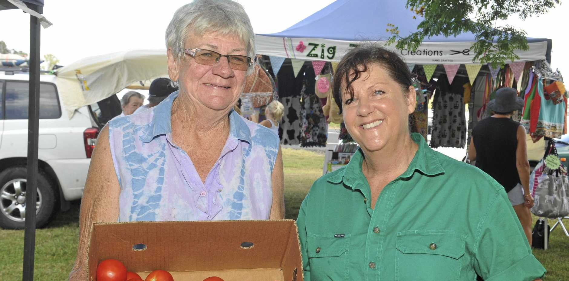 PROUD: Lawrence Farmers and Community Market organisers Ann Gleeson and Lesa Yabsley at their first markets in February.