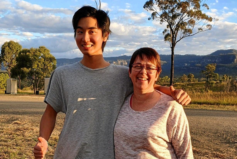 EXCHANGE STUDENT: Susan Robertson and Japanese exchange student, Yusuke Takaiwa at Carnarvon Gorge.