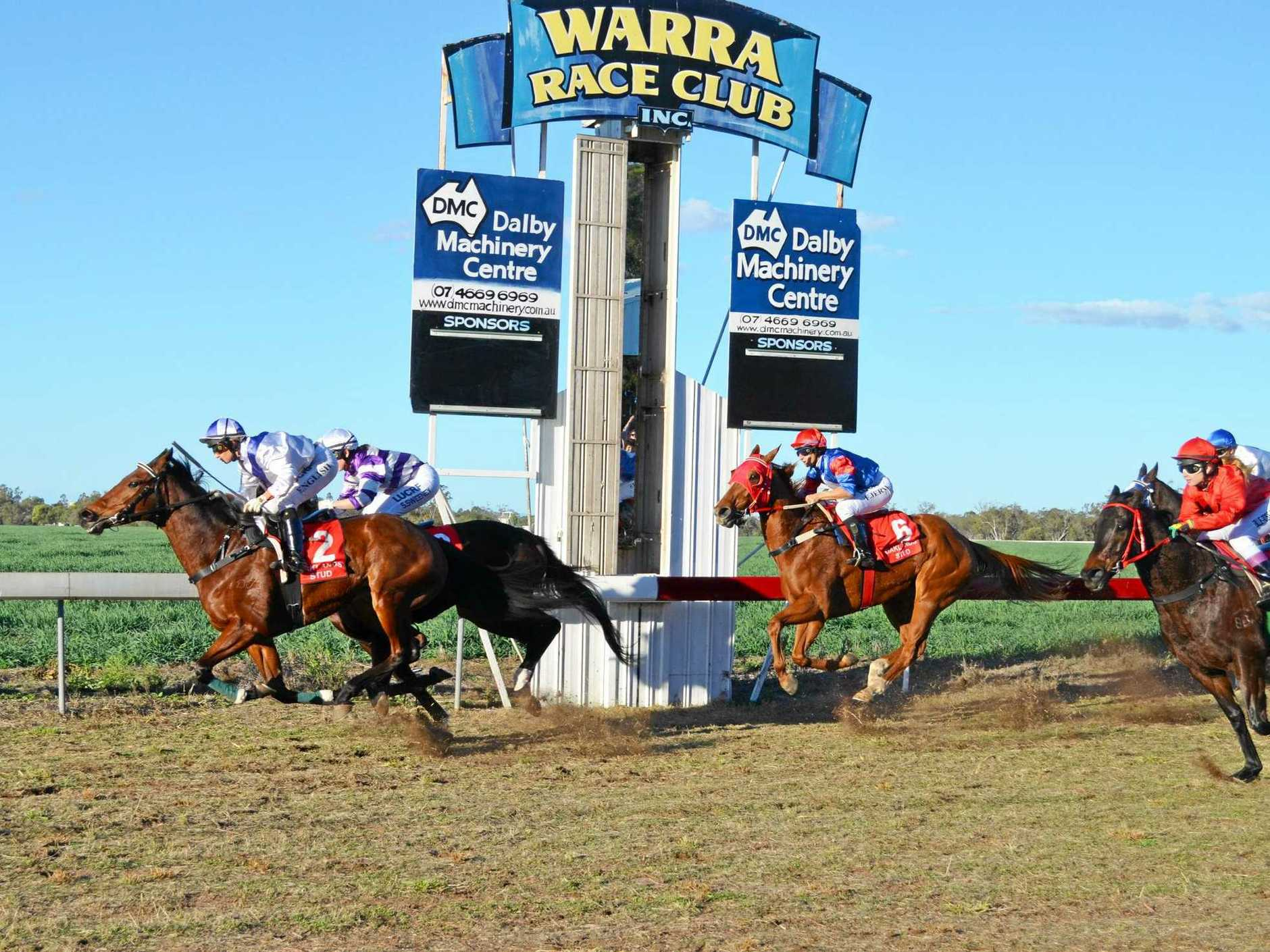 FIGHT TO FINISH: Race will be on for both experienced and rookie riders at the Warra Races with children's barrel horse racing included in the entertainment program.