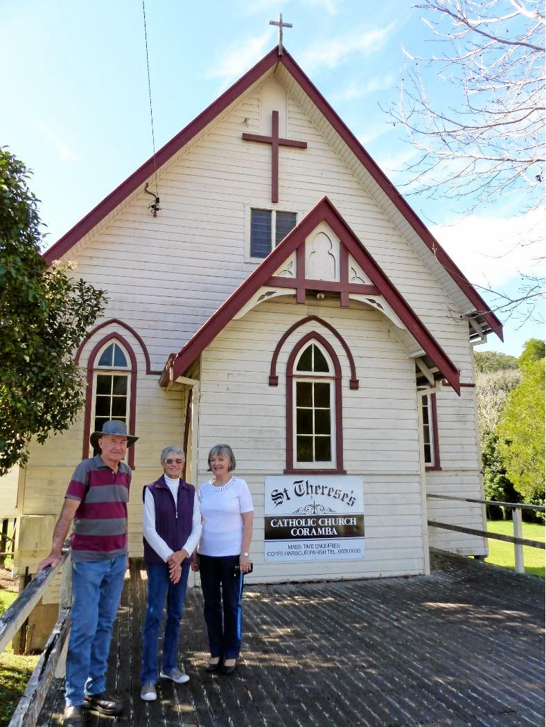 John and Pam Pade and Jennifer Tuxford local Parishioners of Coramba outside the St Therese's Catholic Church that will be rejuvenated.
