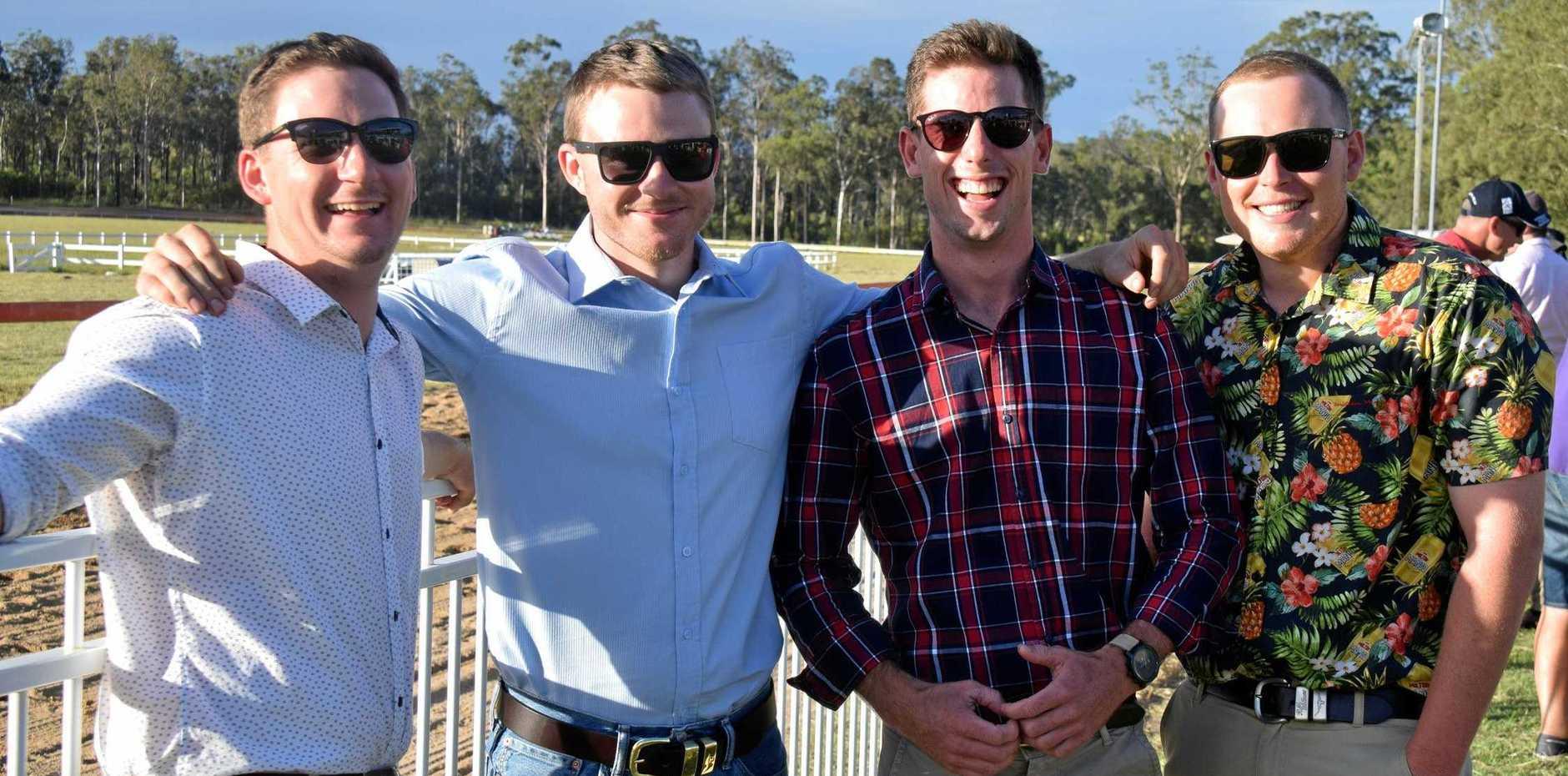 TOP MATES: Tom Patton, Jimmy McKinnon, Stuart Robinson and Dylan Parker catch up at the Wondai Races.