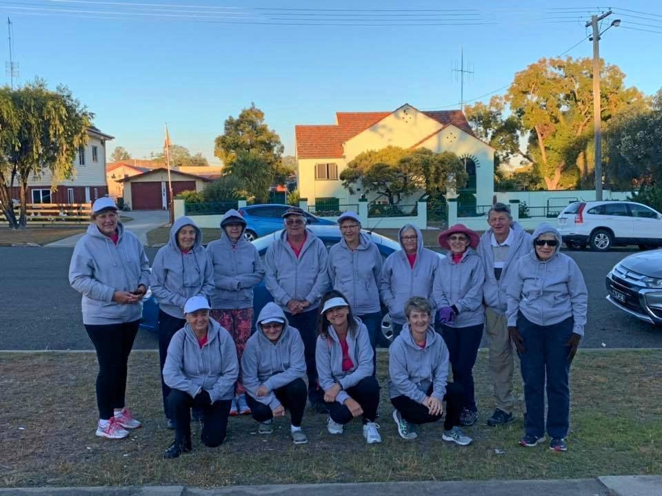 FROSTY FRIENDS: The Murgon Walk and Talk group all rugged up to face up to the cold temperatures on their walk around town.