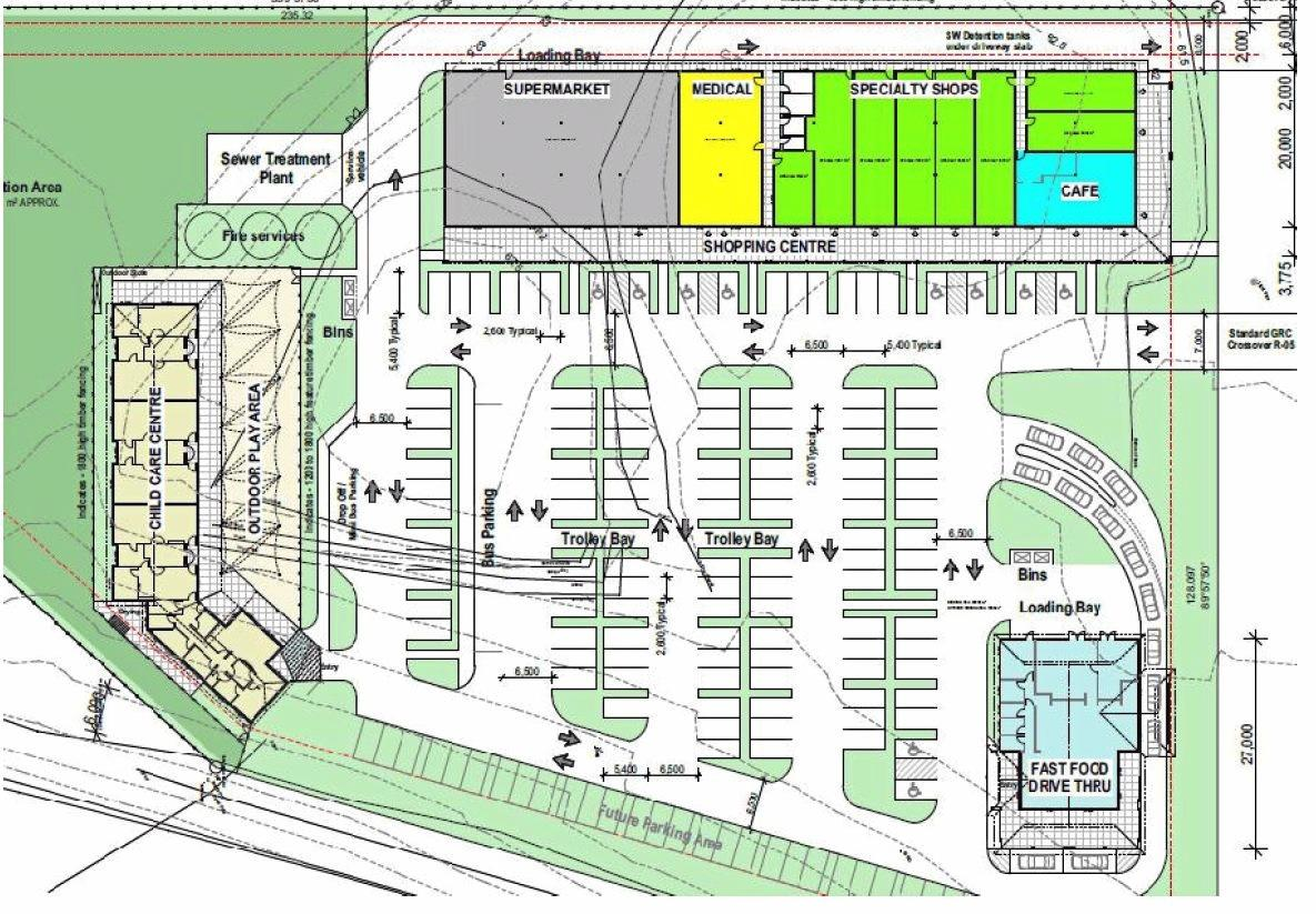 CURRA PROJECT: A plan of the Curra shopping centre which includes child care and fast food centres.