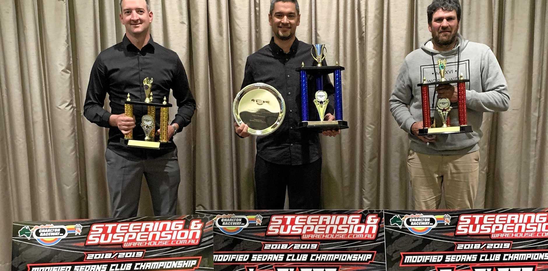 PODIUM FINISH: Celebrating their Toowoomba Speedway Club modified sedans championship podium finishes are (from left) Nathan Macdonald, Aidan Raymont and Rodney Pammenter.
