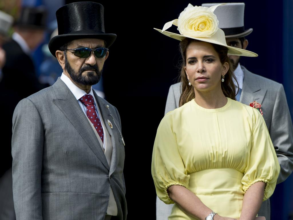 Princess Haya Bint Al Hussein and Sheikh Mohammed Bin Rashid Al Maktoum at Epsom in England in 2017. Picture: Mark Cuthbert/UK Press via Getty Images.
