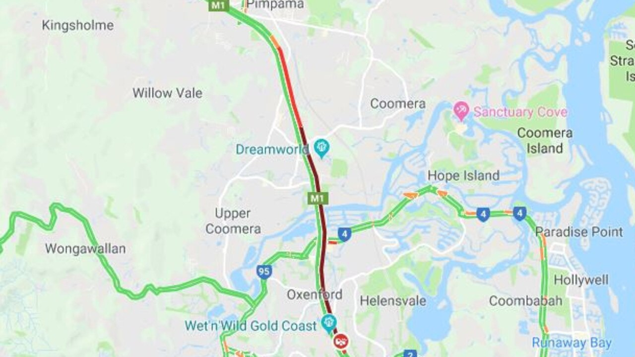 The congestion the crash has caused on the M1.