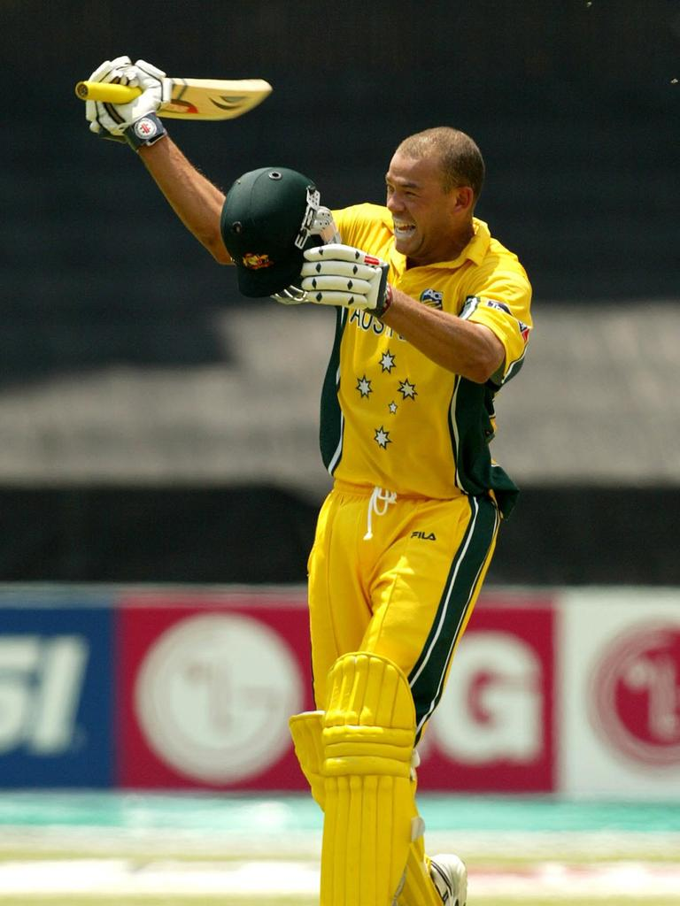Andrew Symonds celebrates after his career-defining century against Pakistan in 2003. Picture: AP