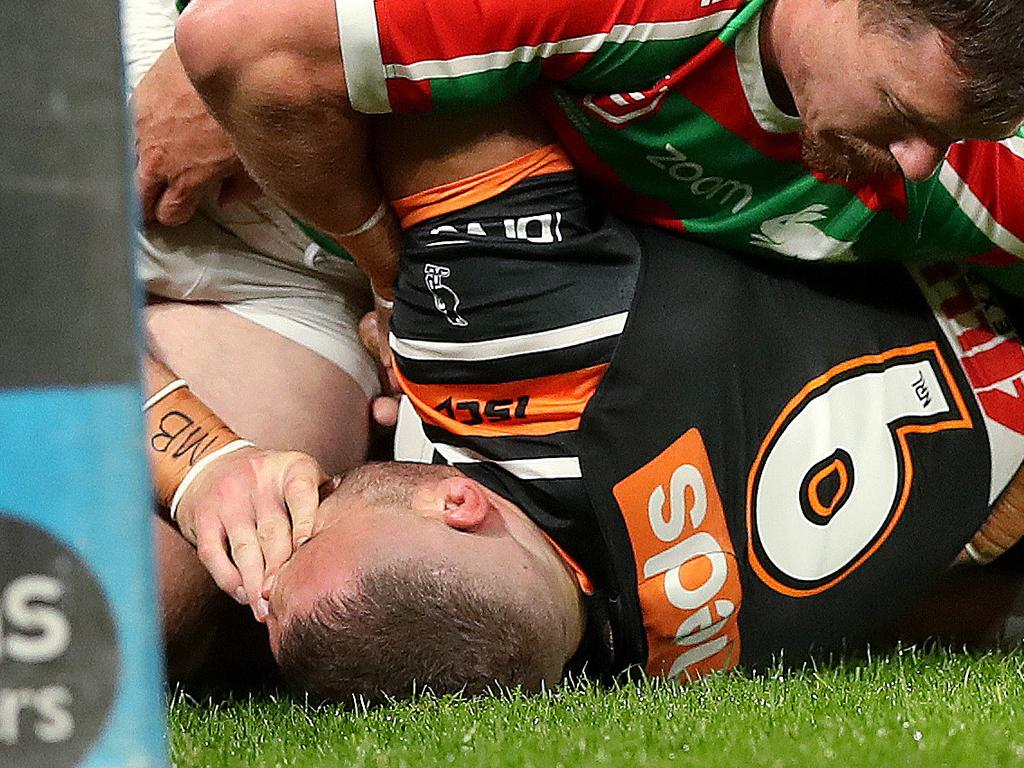 Rabbitoh George Burgess eye-gouges Robbie Farah, leading to his nine-week ban. Picture: Phil Hillyard