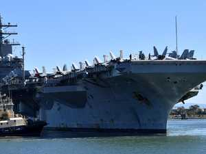 Jet-laden giant US carrier closes in on Brisbane