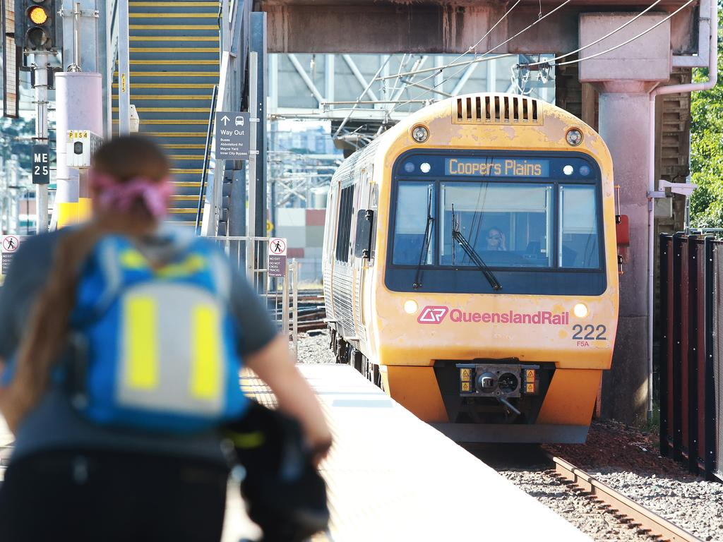 A train arrives at Bowen Hills station in Brisbane.