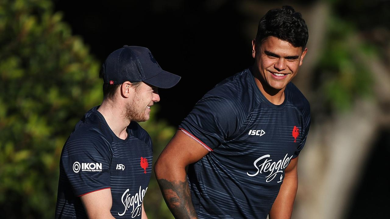 Together again... Luke Keary and Latrell Mitchell form a lethal combination at the Roosters. Picture: Brett Costello