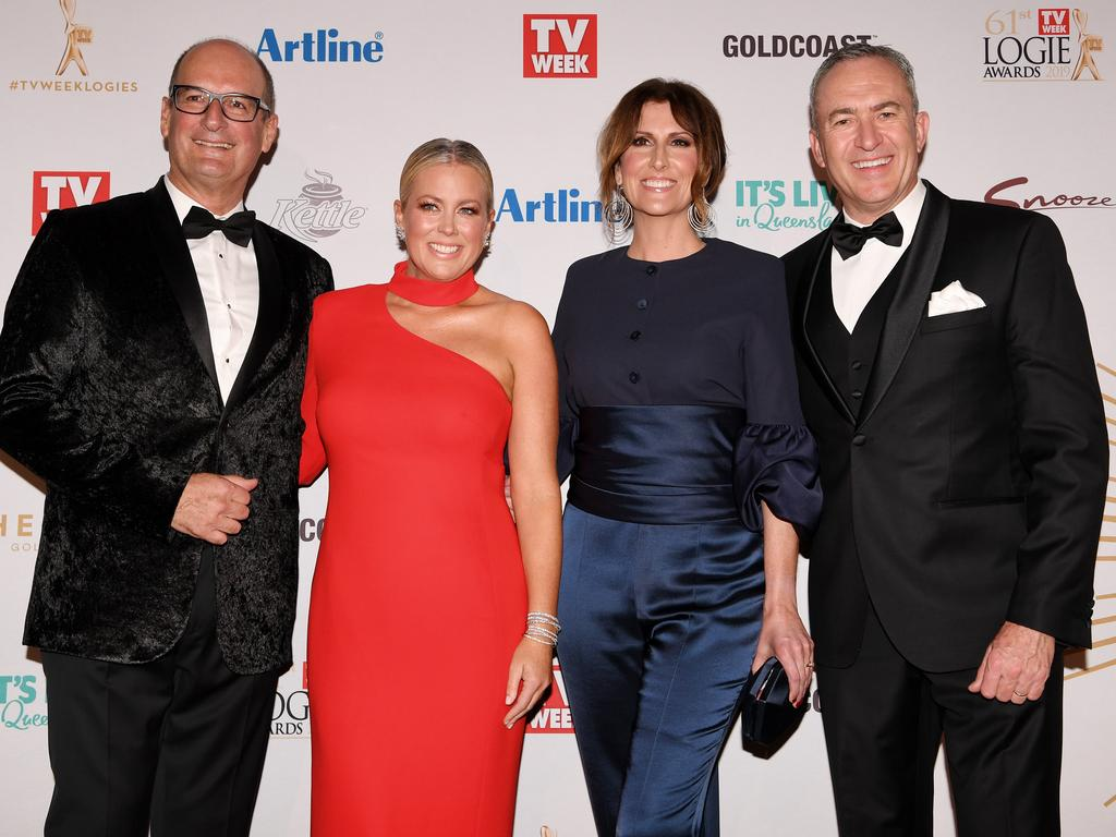 David Koch, Samantha Armytage, Natalie Barr and Mark Beretta at the Logies. Picture: AAP
