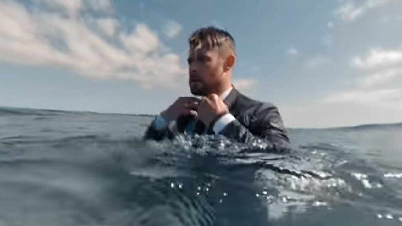 Chris Hemsworth all suited up to ride wides. Picture: YouTube - Huge Boss