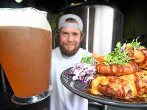 Beer, parmi lovers chow down on monster meal
