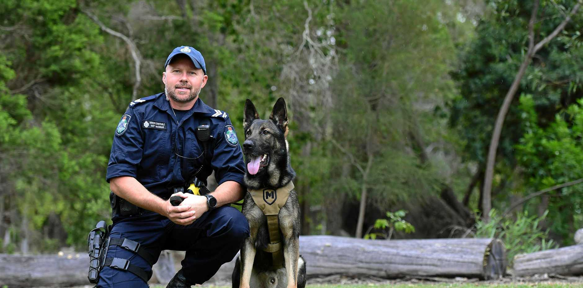 STINGER OPERATION: Senior Constable Matt McKinnar with police dog Stinger.