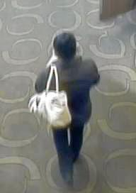 security footage of Shandee Blackburn leaving Harrup Park Country club with her handbag.  Photo contributed