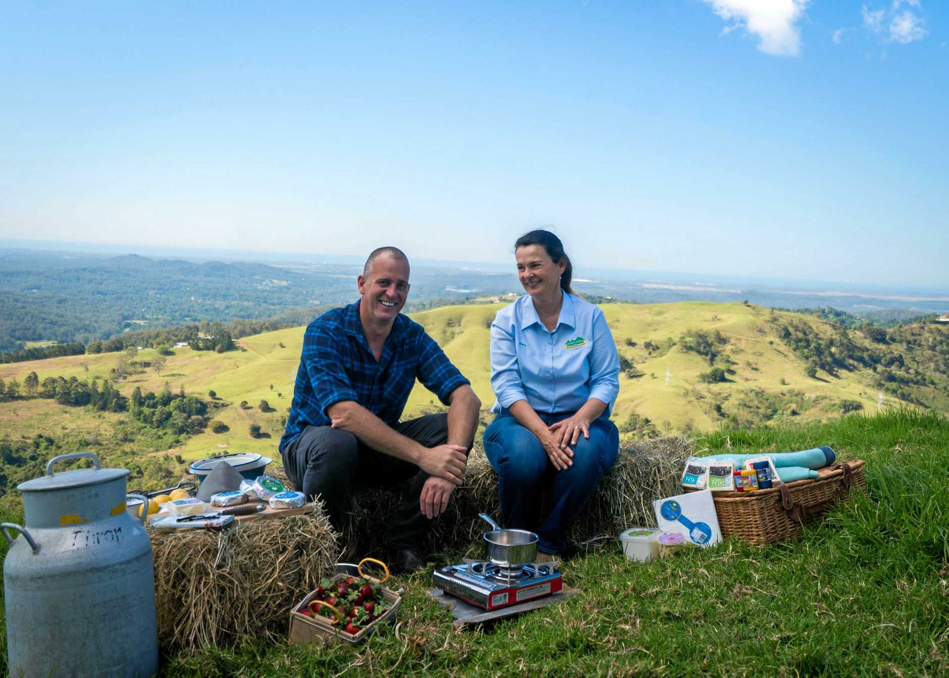 Ed Halmagyi with Sara Bucher of Maleny Cheese.