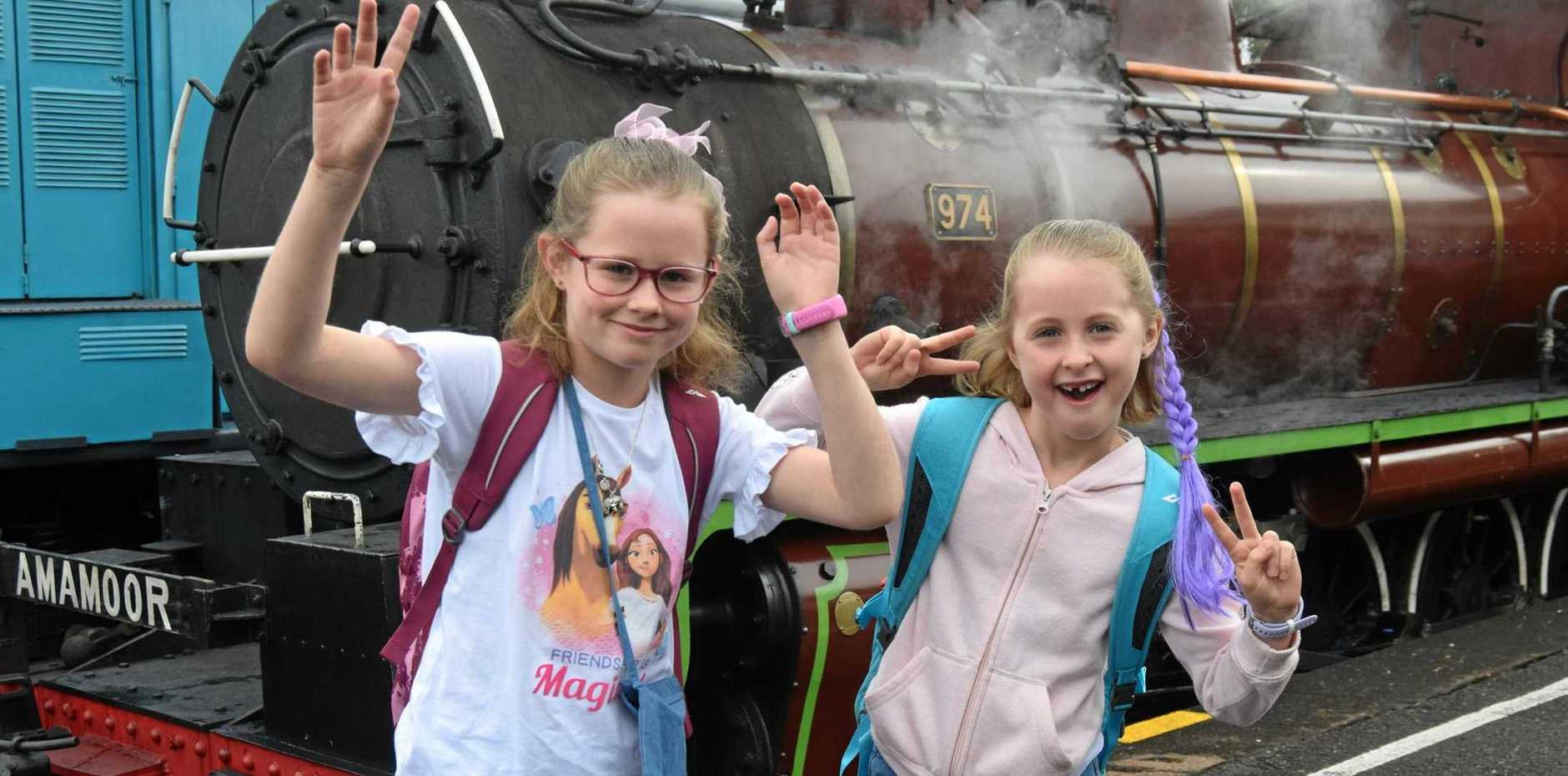EXCITED: Emily and Gemma Bryce were excited to board the Mary Valley Rattler to Amamoor today as part of Holiday Express.
