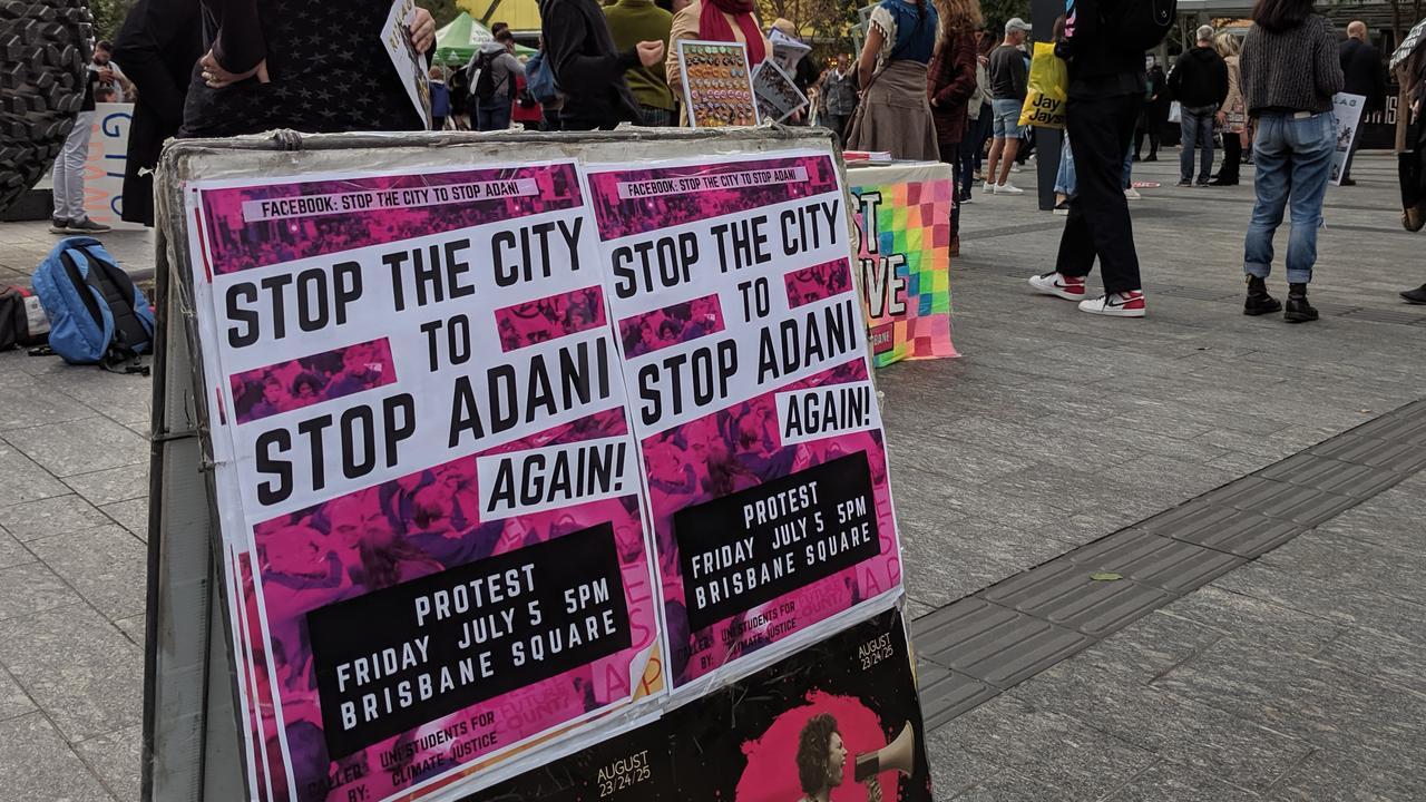 Anti-Adani protesters gather in Brisbane. Picture: AAP/David Clark