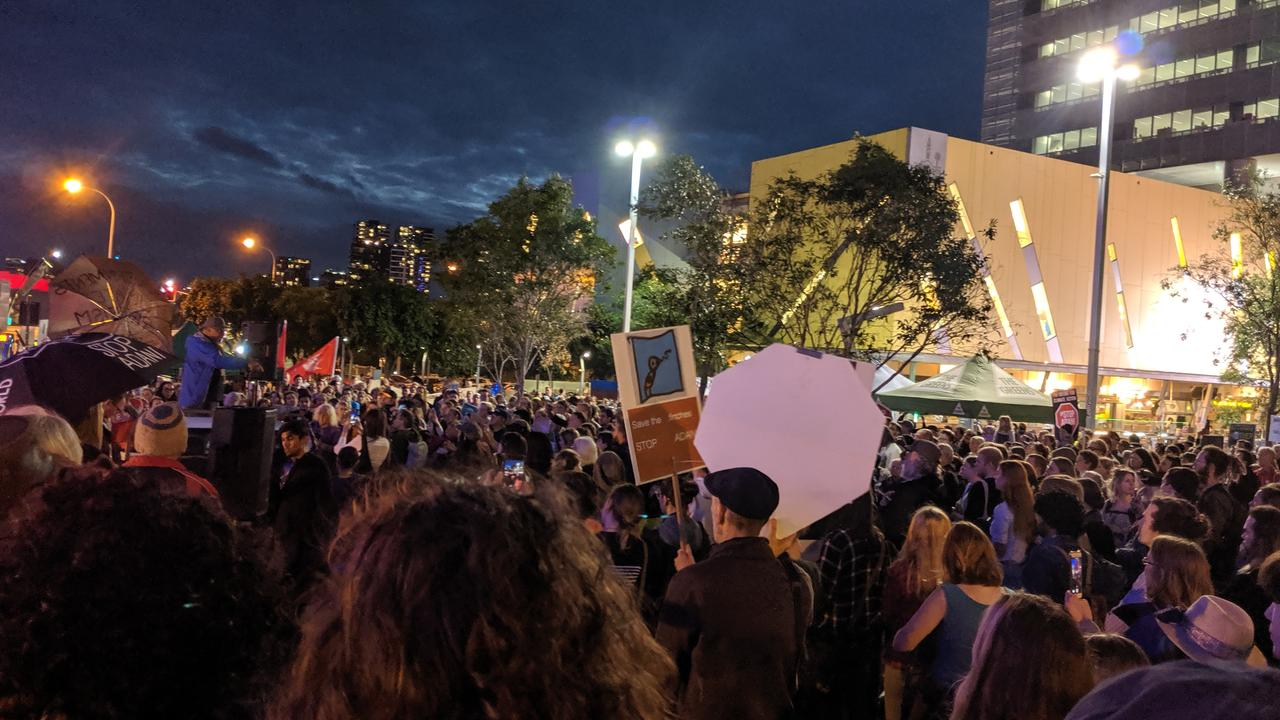 Hundreds pack Brisbane's streets as part of an anti-Adani protest. Picture: Sarah Matthews