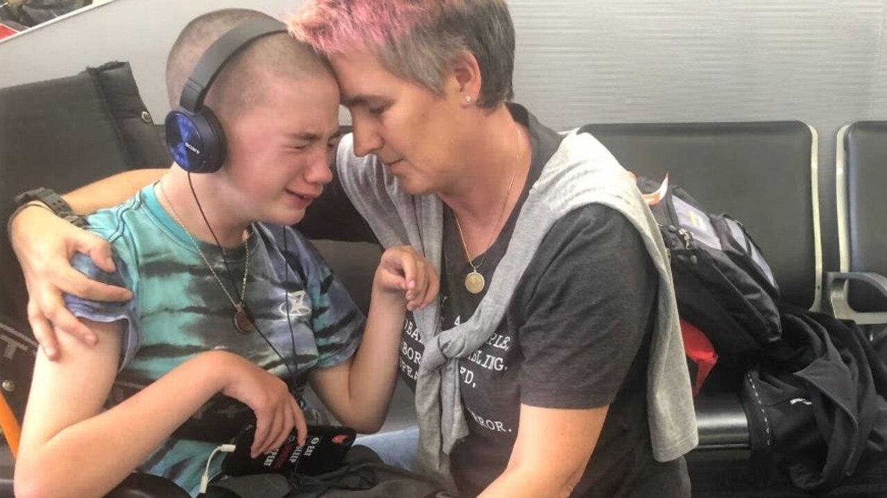 'They took my legs away.' Billie Boele is comforted by her mum Heike Fabig.