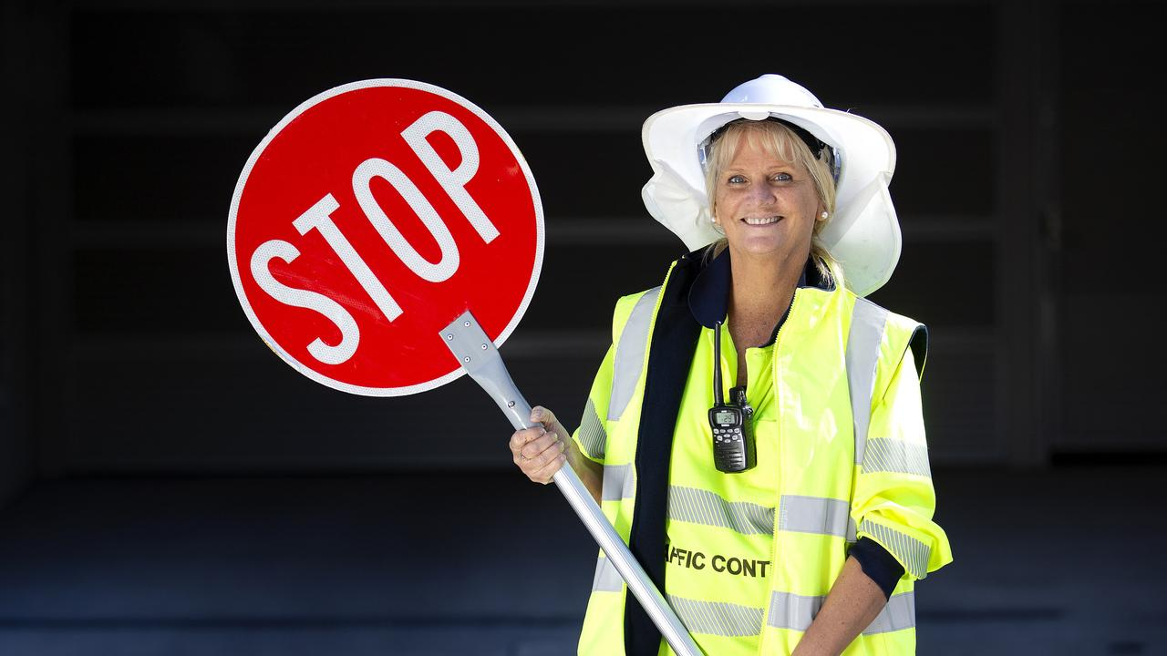 Ready, set, go: Traffic controller Judi Young at work. Picture: AAP/Sarah Marshall