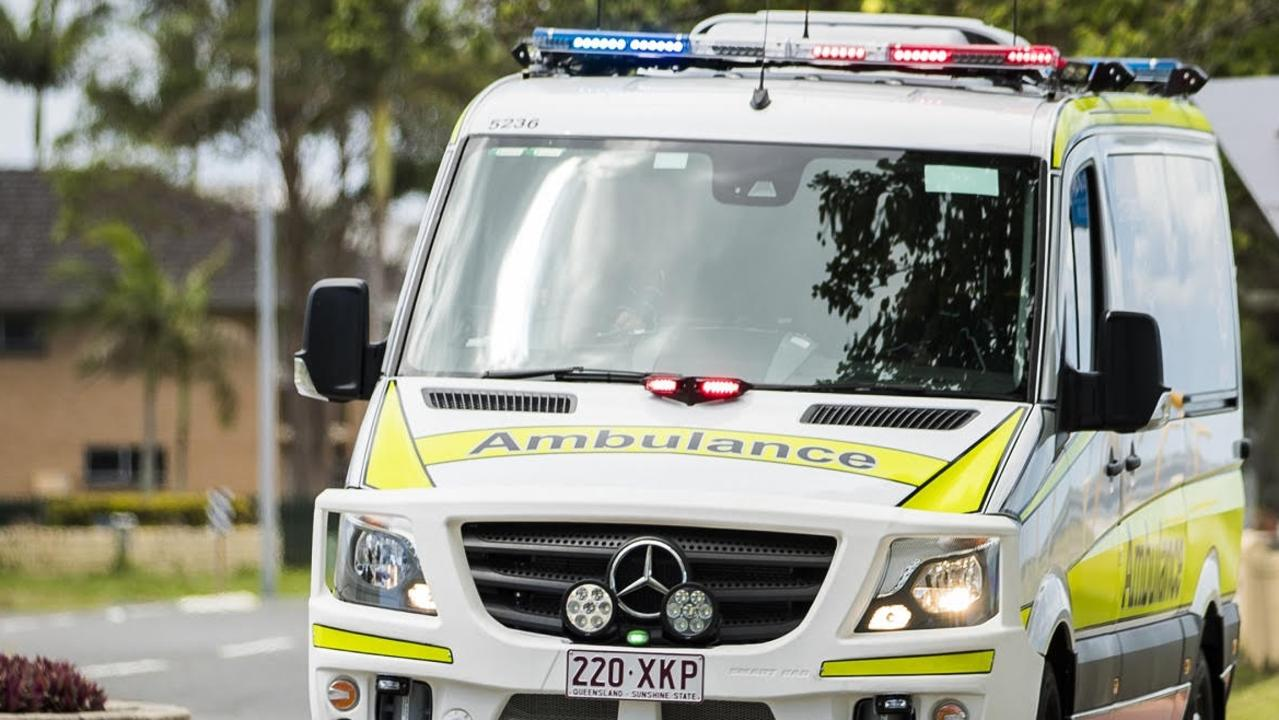 Paramedics are working to save a cyclist's life after a collision with a truck this morning.