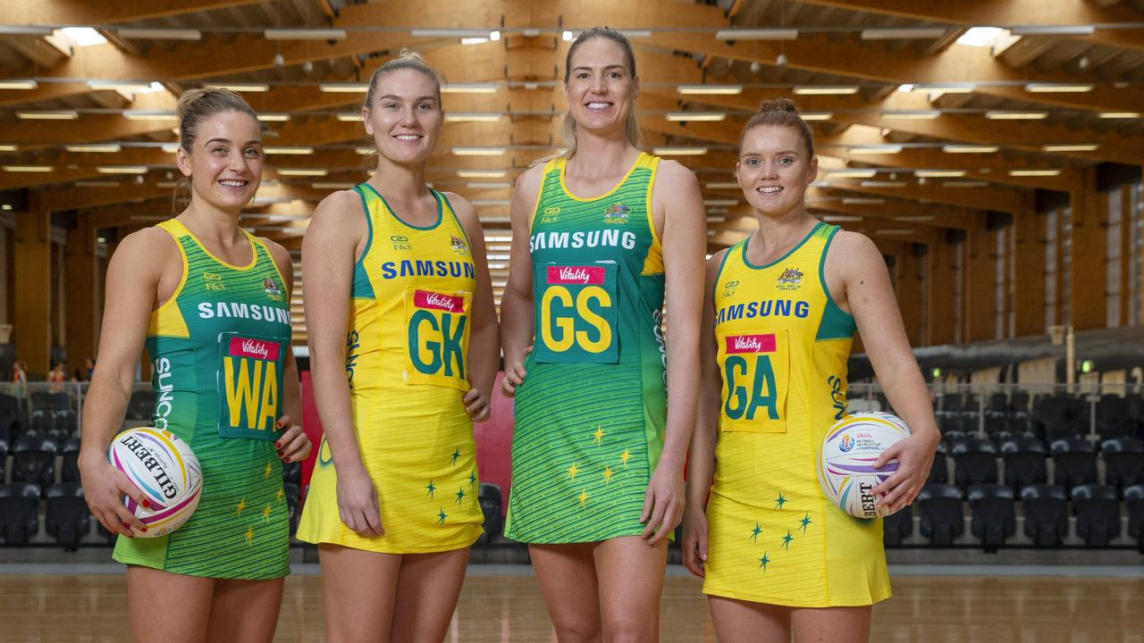 Liz Watson, Courtney Bruce, Caitlin Bassett and Steph Wood model the new uniform to be worn at the 2019 World Cup. Pic: Justin Lloyd.