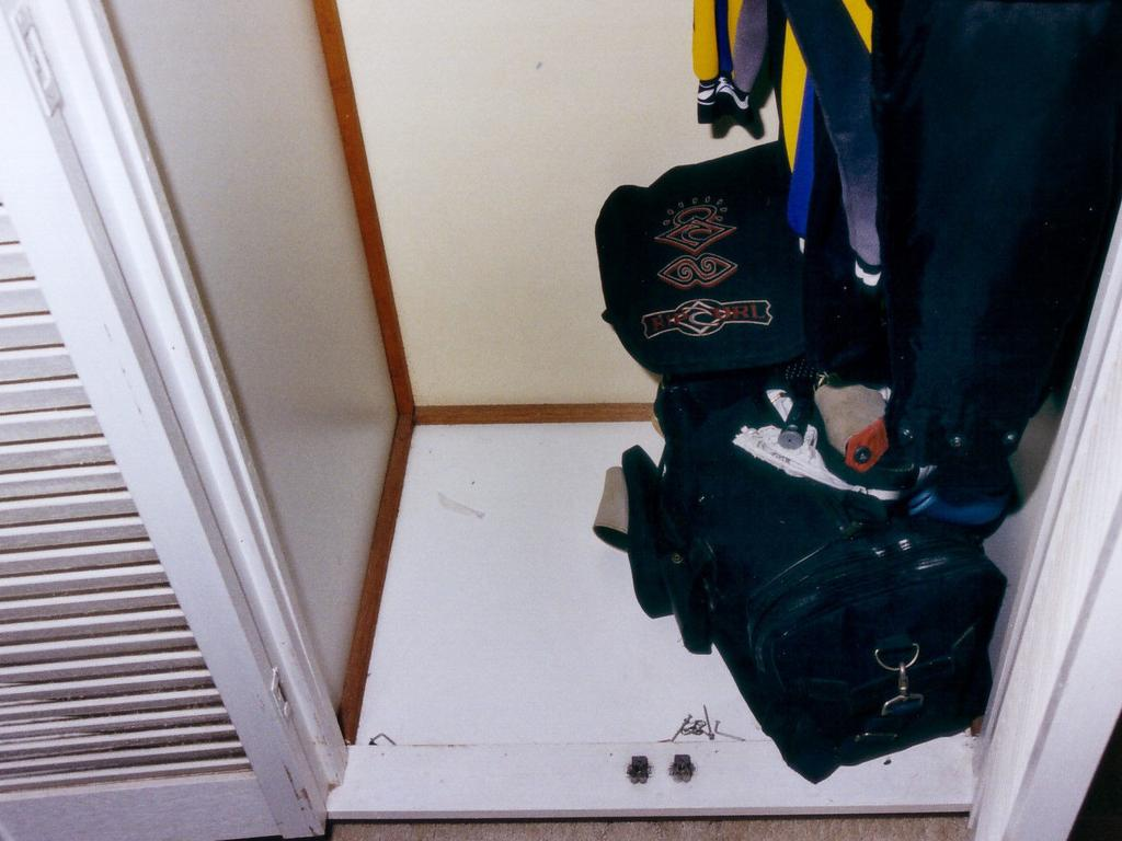 The cupboard where Natasha Ryan was found hiding by police. Picture: Supplied