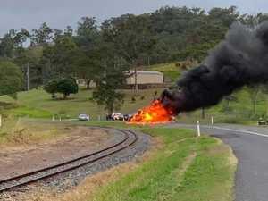 Woman suffers burns in fiery crash near Sarina