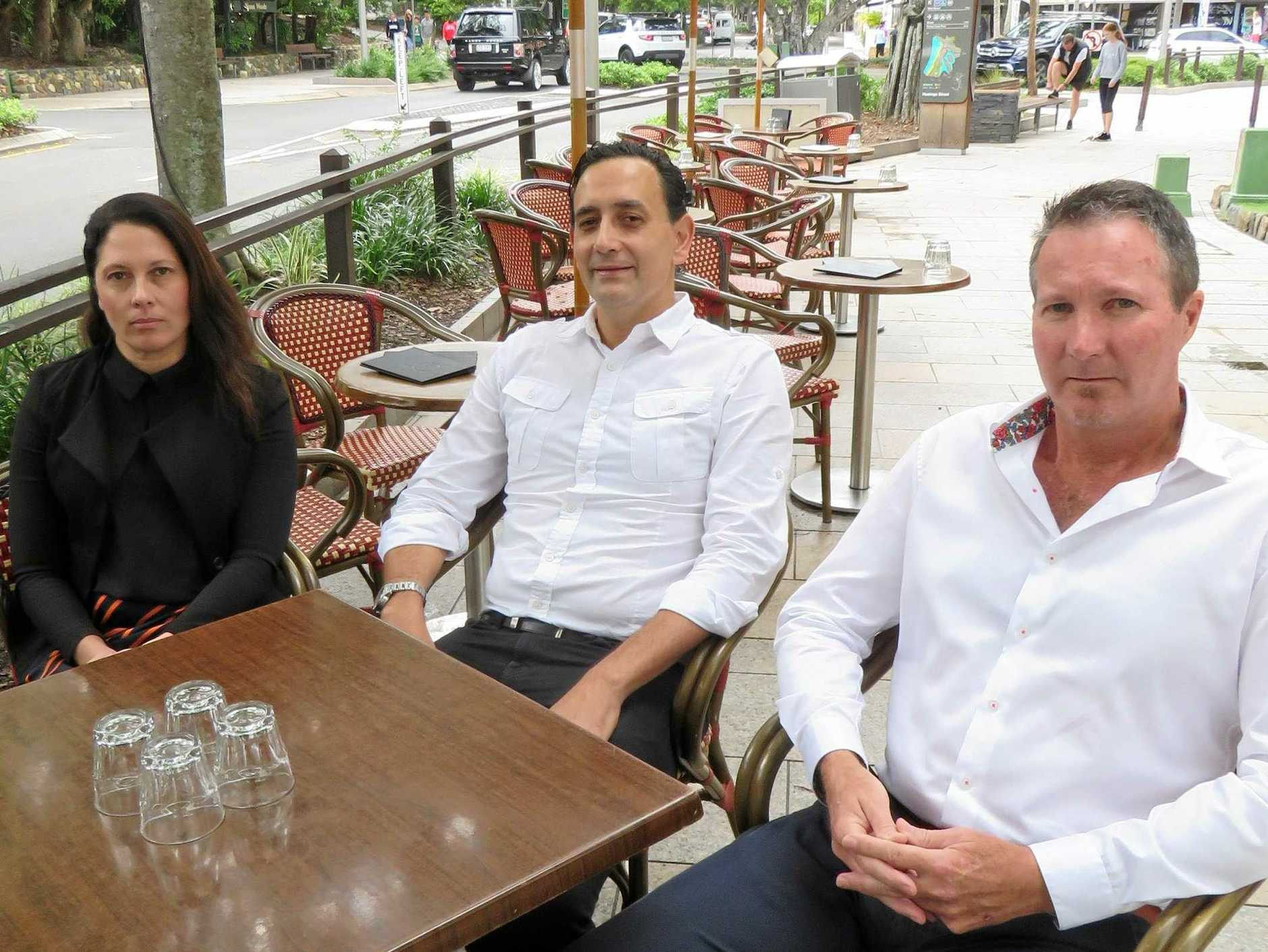 WORRIED: Hastings St Association president Emma Hull, Noosaville Business Association president Joel Laventure and Noosa Junction Association president Michael Tozer are concerned about slow business activity in the tourism off-peaks.