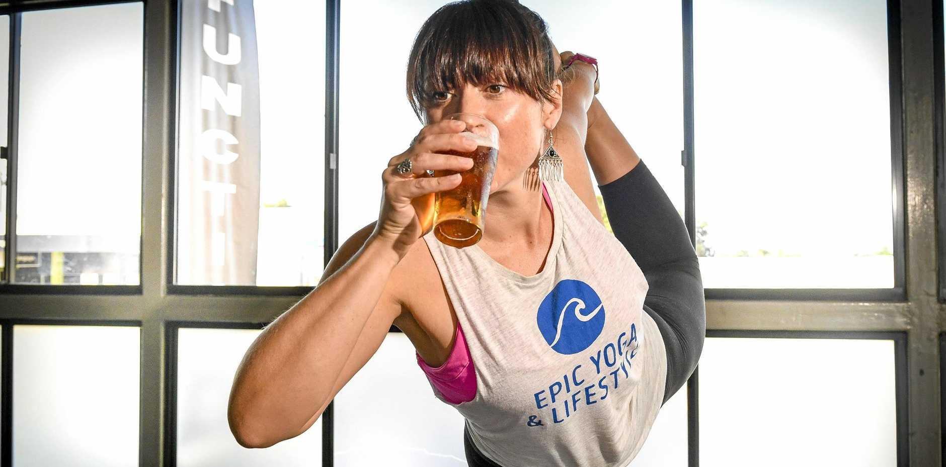 HEALTHY DRINKING: Luaun Fraser from Epic  is holding beer yoga classes in Gladstone on Sunday afternoons.