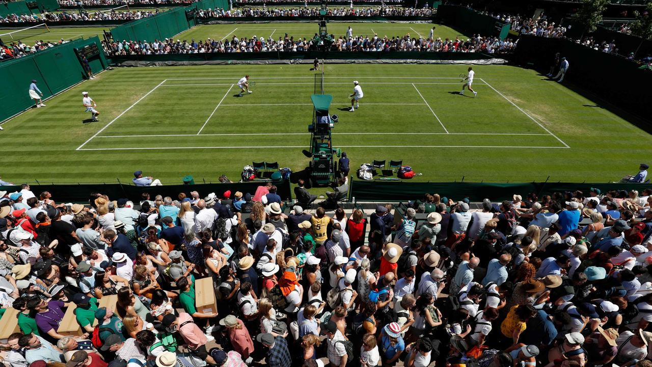Spectators have flocked to the outer courts at Wimbledon.