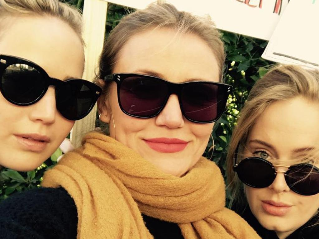 Adele's hen's party for Jennifer Lawrence is likely to be a star-studded bash. From left to right, Lawrence, Cameron Diaz, Adele. Pic: Instagram @adele