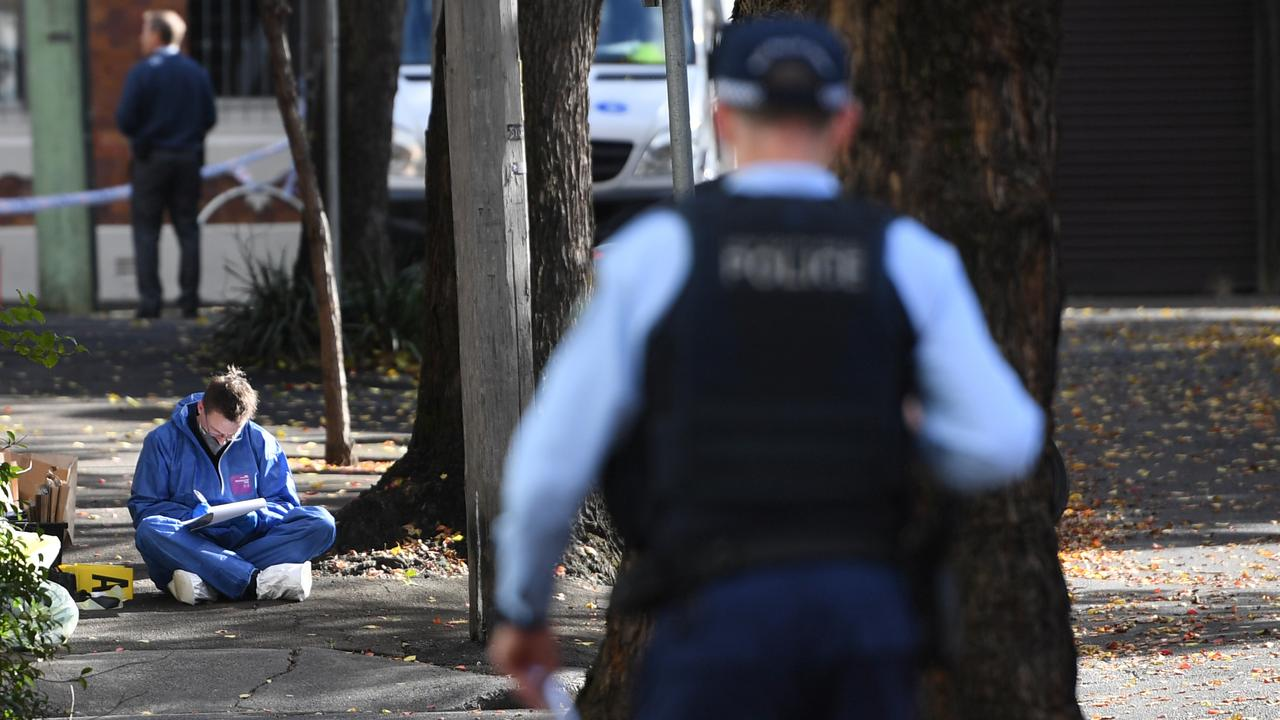 6Police investigate the scene of a stabbing in Chippendale, Sydney. Picture: Tracey Nearmy/Sunday Telegraph