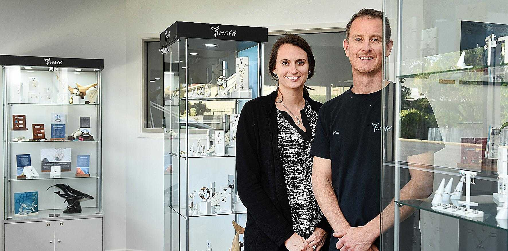 OCEAN LOVERS: World Treasure Designs owners Nick and Allison Thorp have opened a new concept store at Urangan stocking more than 65 ocean-inspired pieces of jewellery.