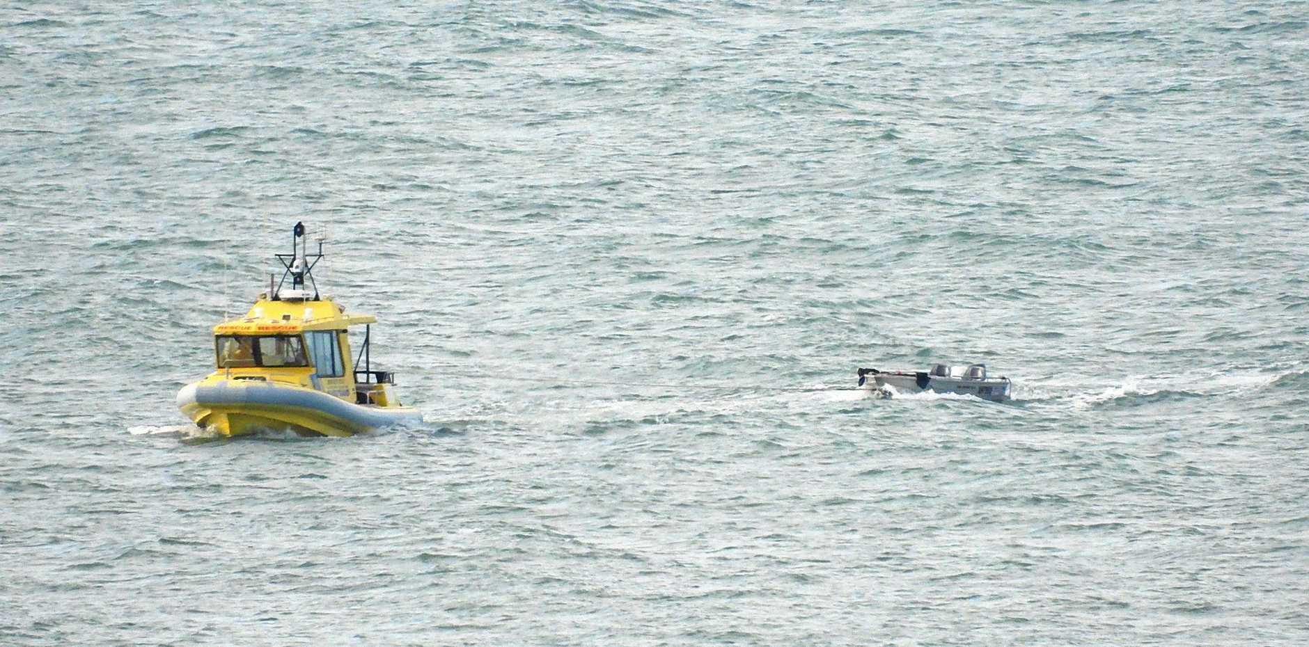 BOAT: Coast Guard Yeppoon tows camping couple back to shore.