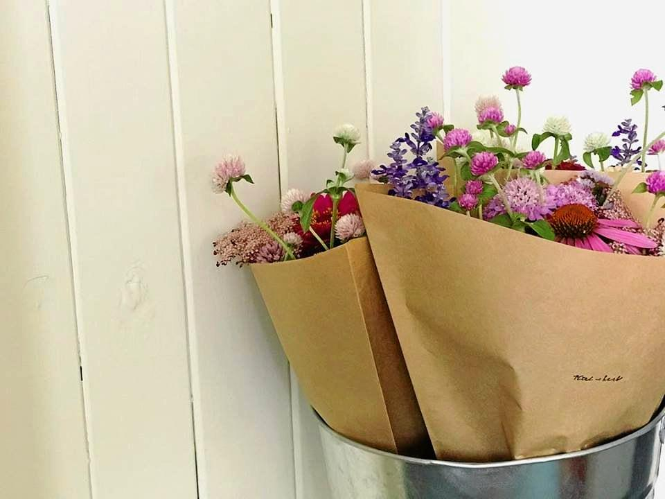 Stacey Gillies' bunches of blooms are hard to miss as they are beautifully arranged and sold at Goomeri Bakery.
